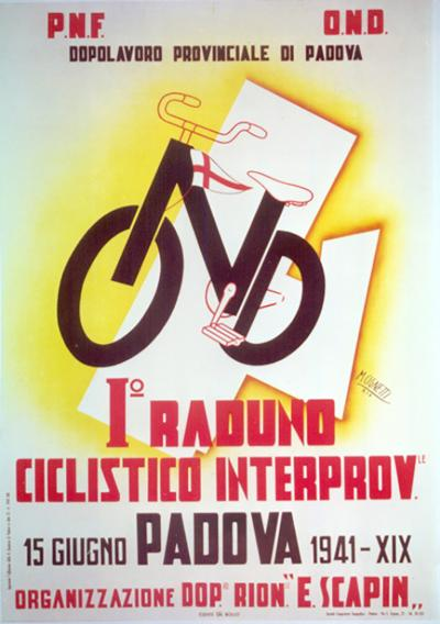 Michelangelo Cignetti Italian Futurist Period Bicycle Race Poster by Michelangelo Cignetti 1941