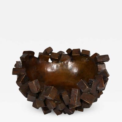 Michele Balestra Reddish brown patinated bronze bowl