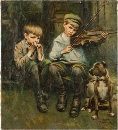 Michele Mr Falanga Michele Falanga Italian 1870 1942 Two Boys and a Dog painting