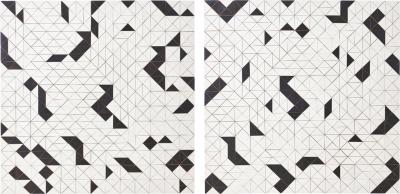 Michelle Peterson Albandoz Pair of Black and White Abstract Wood Panels by Michelle Peterson Albandoz