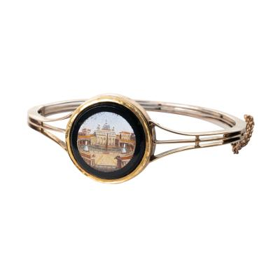 Micro mosaic of St Peter s Cathedral set in a gold bangle bracelet