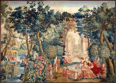 Mid 17th Century antique tapestry from Brussels Allegory of Spring