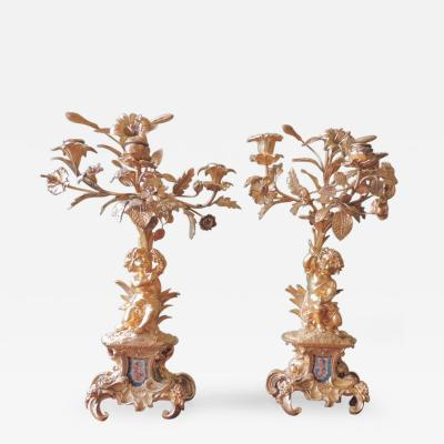 Mid 19th C French Se vres and Bronze Dore Candelabras