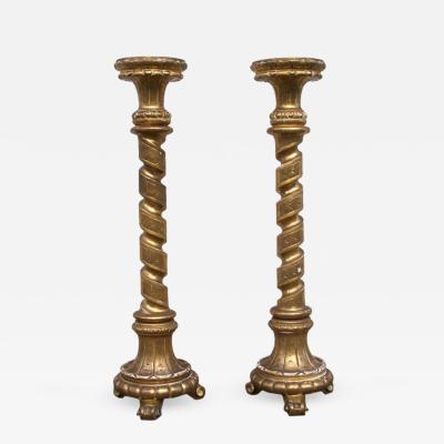 Mid 19th C Italian Gilt Spiral Turned Columns