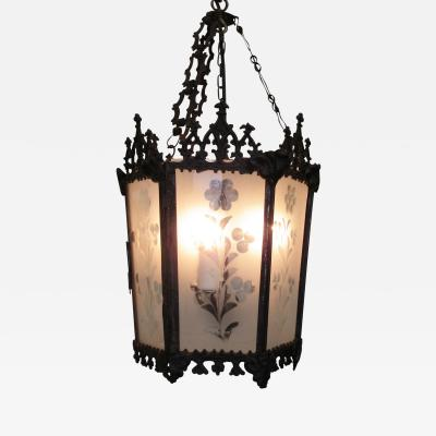 Mid 19th C New Orleans Gothic Ebonized Brass Lantern