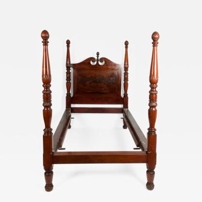Mid 19th Century Empire Style Mahogany Four Poster Single Bed