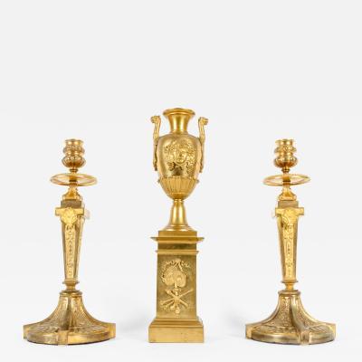 Mid 19th Century Gilt Bronze Three Piece Garniture Set