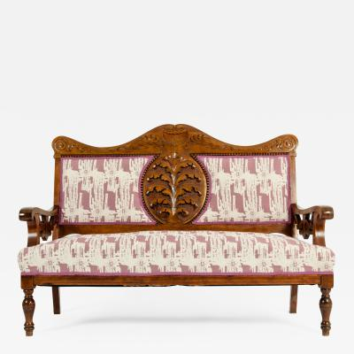 Mid 19th Century Hand Carved Mahogany Victorian Style Settee