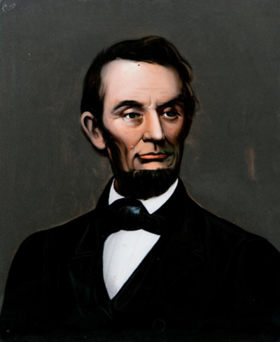 Mid 19th Century Lincoln Portrait Painting on Glass