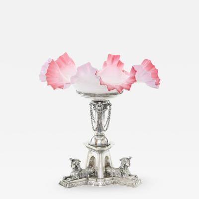 Mid 19th Century Silver Plated Art Glass Tazza