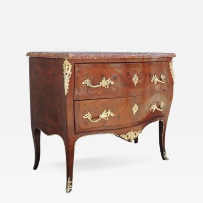 Mid 19th Century Spanish Louis XV Marquetry Chest with Marble Top