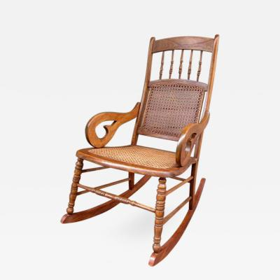 Mid 19th Century St Croix Regency Mahogany and Cane Rocking Chair