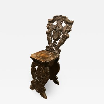 Mid 19th Century Vintage Intricately Carved Occasional Italian Chair