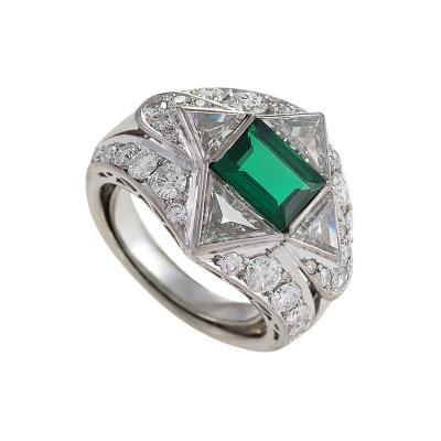 Mid 20 Century Emerald Diamond and Platinum Ring