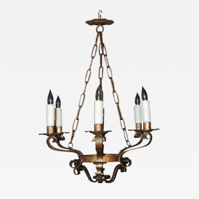 Mid 20th C Spanish Gilt Tole Chandelier