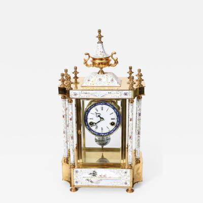 Mid 20th Century Brass Frame Mantel Clock