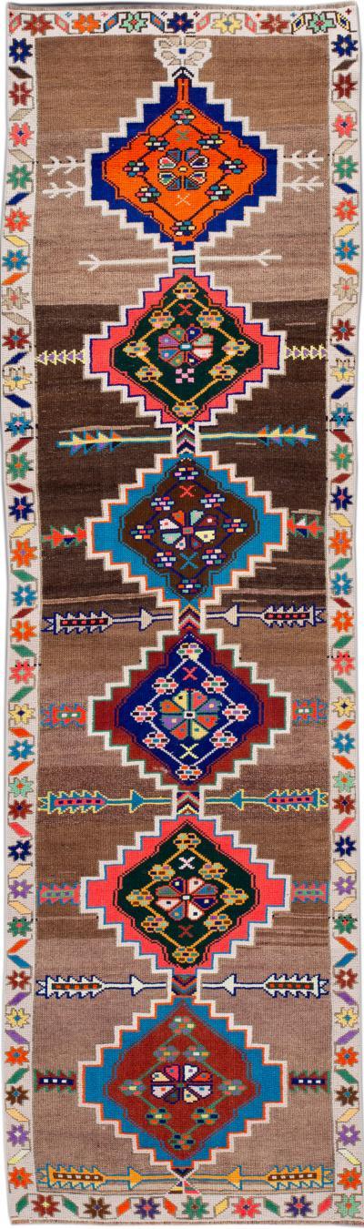 Mid 20th Century Colorfull Vintage Turkish Wool Runner Rug 3 x 10