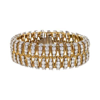 Mid 20th Century Diamond Platinum and Gold Bracelet