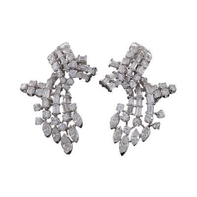 Mid 20th Century Diamond and Platinum Earrings