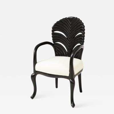 Mid 20th Century Ebonized Fan Back Armchair