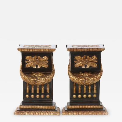 Mid 20th Century Gilt Bronze Pedestal Side Tables