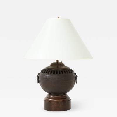 Mid 20th Century Iron Lamp with Foliate Ring Handles