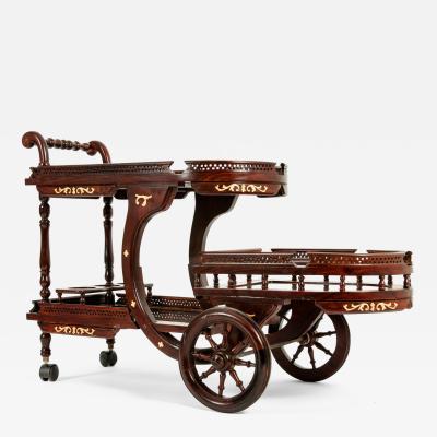 Mid 20th Century Mahogany Inlaid Top Bar Cart