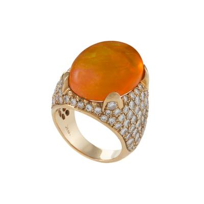 Mid 20th Century Mexican Fire Opal Diamond and Gold Ring