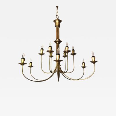 Mid 20th Century Modern Twelve Light Brass Chandelier