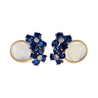 Mid 20th Century Moonstone Diamond Sapphire and Gold Earrings