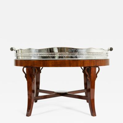 Mid 20th Century Plated High Gallery Wood Interior Tray Table
