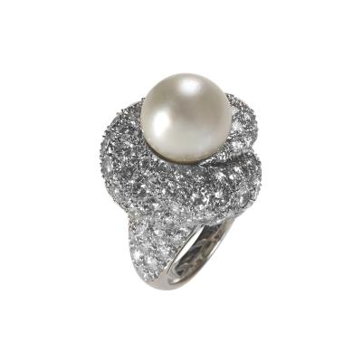 Mid 20th Century Platinum Diamond and Pearl Ring