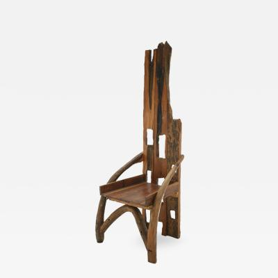 Mid 20th Century Sculptural Olive Wood and Walnut Chair France 1940s