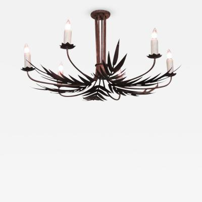 Mid 20th Century Spanish Barcelona Tole Palm Chandelier with Star Bobeche