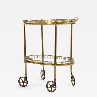 Mid 20th Century Two Glass Tiered Wheeled Bar Cart