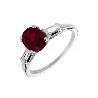 Mid Century 1 63 Carat Ruby Diamond Three Stone Platinum Engagement Ring