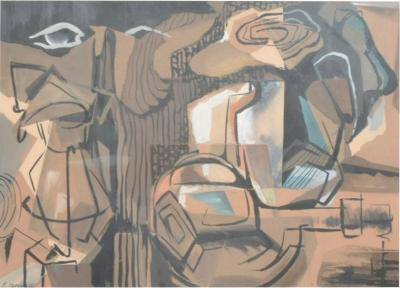 Mid Century Abstract Painting Pastel on Paper signed E Bowmann