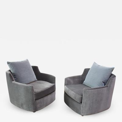 Mid Century American Modern Tub Chairs in Mohair and Velvet