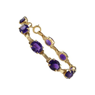 Mid Century Amethyst and Gold Line Bracelet