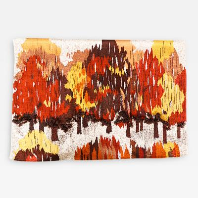 Mid Century Autumn Fiber Art Wall Signed by Barbara M