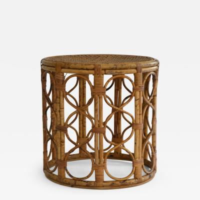 Mid Century Bamboo Drum Form Side Table
