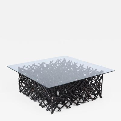 Mid Century Bamboo Glass Coffee Table