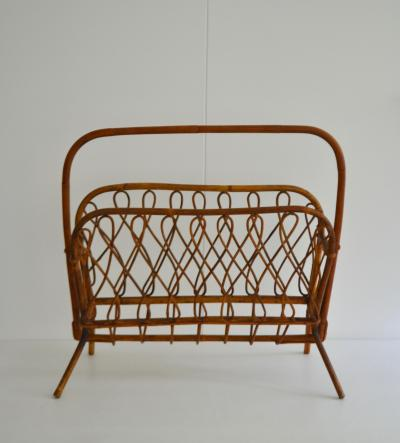 Mid Century Bamboo and Reed Magazine Rack