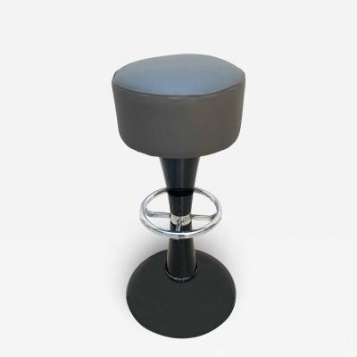Mid Century Bar Stools Black Lacquered and Chromed Grey Leather France 1950s