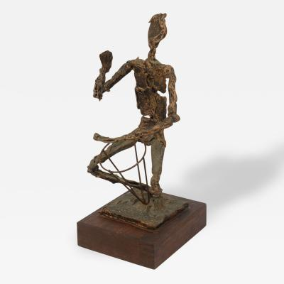Mid Century Bongo Player Sculpture in the Brutalist style