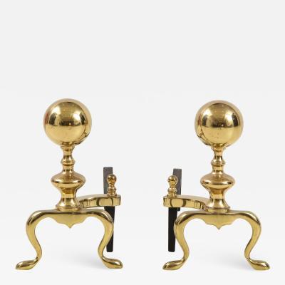 Mid Century Brass Cannonball Andirons