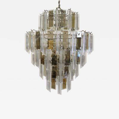 Mid Century Brass Glass and Lucite Chandelier