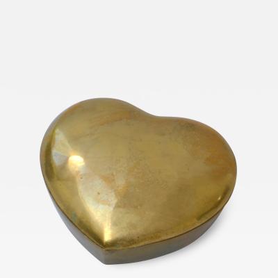Mid Century Brass Heart Form Box