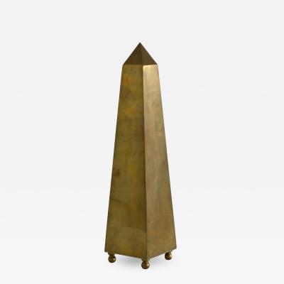 Mid Century Brass Obelisk Form Sculpture