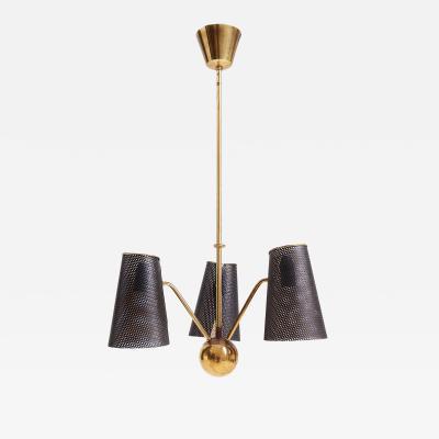 Mid Century Brass and Black Rigitule Ceiling Light